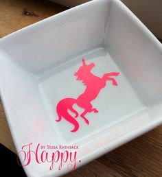 UNICORNS Hot Pink and Black Ring Dish for Jewelry by HappyTessa