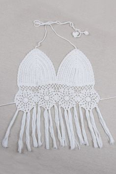 Crochet Halter Fringe Crop Top
