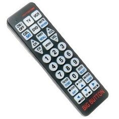 Big Button Universal Remote by The Wright Stuff. $19.95. The Big Button Universal Remote has large buttons and bold easy to read characters that make this remote user friendly! The large 9 ½ inch long frame is easy to grasp and difficult to misplace. Features a touch sensitive lighted keypad for operation in the dark.The Big Button Universal Remote replaces up to 4 standard remotes and can be used with any combination of TVs, VCRs, and cable boxes. (Batteries not included).B...