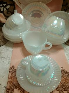 Envisioning miniature fake sandcastles in pearlescent teacups for table decorations!  Beautiful 14 Piece Set Vintage Fire King White Pearl Luster Iridescent Heat Proof F Dishware