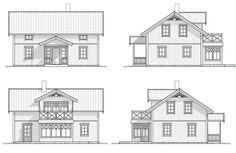 Fasad, Koster 126 Swedish House, Sims House, Sunroom, Scandinavian Design, Sweet Home, Floor Plans, Home And Garden, Cabin, Flooring