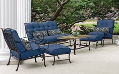 Sink into a sea of comfort with the Oceana 6-Piece Patio Set. Loveseat, 2 arm chairs, and 2 ottomans feature plump and wide cushions over wrought iron/steel frames. Accompanied by a natural stone-top coffee table with an iron/steel base. Online only. #shopko