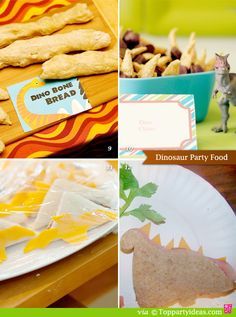 Dinosaur Party Food - pterodactyl sandwiches, dinosaur shaped sandwiches, prehistoric bread bones, dinosaur claws