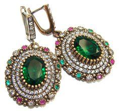 $61.95 Victorian+Style+Created+Emerald+&+White+Topaz+Sterling+Silver+earrings at www.SilverRushStyle.com #earrings #handmade #jewelry #silver #emeraldquartz