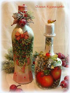 Новогодний декор, декупаж бутылок. Decoupage bottles