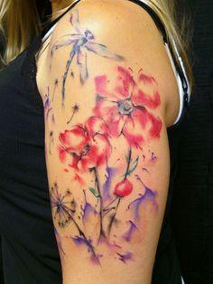 Watercolor tattoo by Tina Gray NC