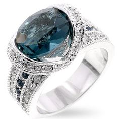 White Gold Plated Montana Blue Cocktail Ring, bidding starts at $10 in the Jewelry auction now.