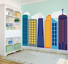 Great building for the superhero theme but I think I could make these myself.  Bold Colorful Geometric City Skyline (Large) - Wall Decal Custom Vinyl Art Stickers