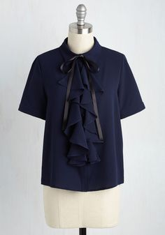 A Capella Company Top - Black, Solid, Ruffles, Work, Short Sleeves, Woven, Better, Collared, Mid-length, Blue, Summer, 60s, Party