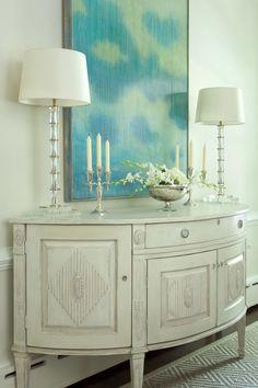 beautiful vignette + turquoise art   Ryland Witt Interior Design