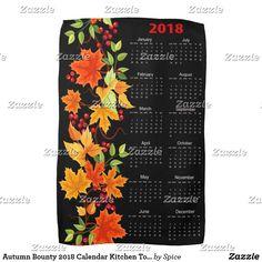 Autumn Bounty 2018 Calendar Kitchen Towels - Black