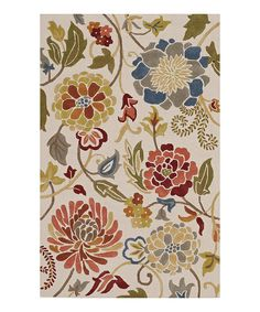 Take a look at this Beige Floral Ambiance Wool Rug on zulily today!