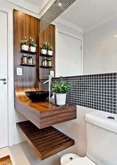 Lavatório desing moderno. Small modern bathroom. Exotic wood cascading vanity. Vessel sink. Blue tile backsplash