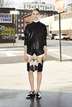 Liking this Givenchy leather sweatshirt look #prefall