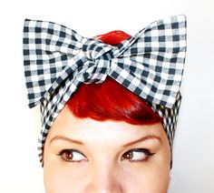 Bow hair tie Black and White Gingham Rockabilly by OhHoneyHush