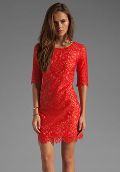 SHOSHANNA Lace Lisa Shift Dress in Rhubarb at Revolve Clothing