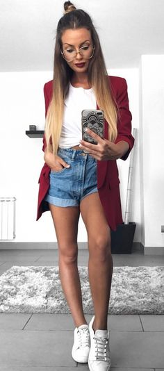 #summer #outfits  Red Blazer + White Tie Top + Denim Short + White Sneakers