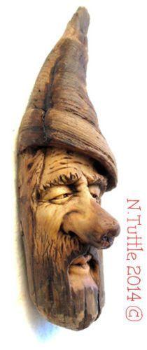 Original wood nose spirit carving wizard elf oregon driftwood ooak nancy tuttle