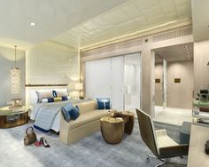 Shangri-La Hotel Jing An rendering of Guest Room A by HBA/Hirsch Bedner Associates. The flagship hotel will offer 508 guest rooms located on the top 29 floors of a 60-floor tower in the heart of Shanghai.
