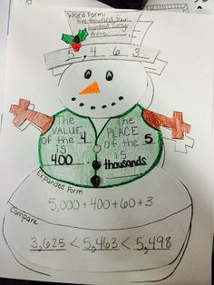 Snowman Place Value Activity adapted for 2nd grade.