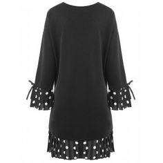 Plus Size Bell Sleeve Polka Dot Dress - BLACK 3XL