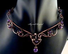 Crowning Glory - Copper Necklace, Wire Wrapped with Amethyst Gemstones and  Copper Beads