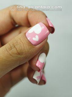 #nails #pink #hearts