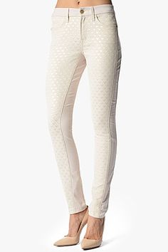 7 For All Mankind, The Pieced Double Knit Skinny in Winter White Pyramid Jacquard, #ChriselleLim