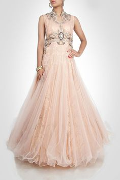 Peach color high-neck gown – Panache Haute Couture http://panachehautecouture.co.in/collections/gowns/products/cream-color-high-nect-anarkali-shape-gown