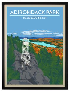Once used as observation points to detect forest fires, today many of the Adirondack fire towers are accessible to hikers to take in 360 degree views from the mountaintop. Depicted in this autumn scene is the Bald Mountain Fire Tower and a view to the northeast, looking at the Fulton Chain of Lakes.