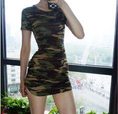 2017 Winter Women Bodycon Dress Camouflage Printed Short Sleeve Long Tops  Sexy Ladies Mini Sexy Club party Vestidos Plus Size 172c76c30d0b