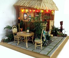 the hut/bar in the background for your Hawaiian stop motion Miniature Rooms, Miniature Houses, Doll Furniture, Dollhouse Furniture, Diy Dollhouse, Dollhouse Miniatures, Barbie Diorama, Fairy Houses, Doll Houses