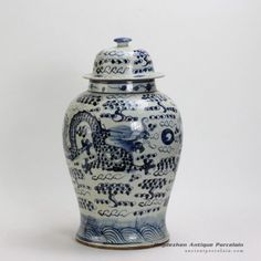 Pair of Dragon design Blue & White Ginger Jars