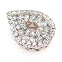 Pear Shaped Pave Diamond Double Halo Hidden Bail Estate Pendant 14K Gold | FJ AB #Pendant