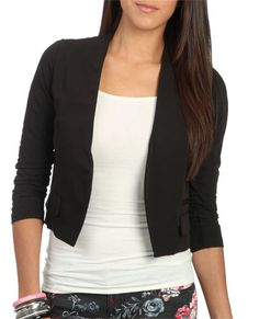 Ruched Sleeve Crop Blazer from WetSeal.com
