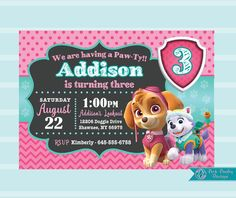 Are you planning a Girl Paw Patrol Birthday? These invitations can be customized with your special wording. These Skye and Everest invites