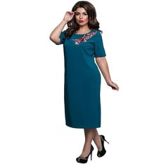 Elegant Solid Large Size Embroidered Dress Office Dinner Party 4XL 5XL 6XL  Casual Loose Ladies Women b7b2d8a4fe46