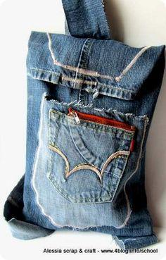 Scuola di Cucito: lo zainetto fatto con i vecchi jeans    back to school!