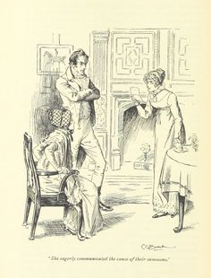 """PP 'She eagerly communicated the cause of their summons.' CE Brock, """"Pride and Prejudice"""", 1895"""