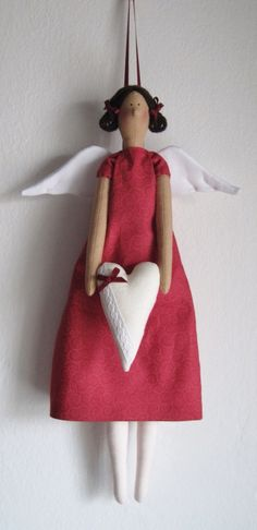 Angel of love tilda style tilda with a heart/ angel del amor, hogar от UnBonDiaHandmade