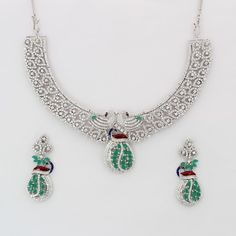 CZ Rhodium Necklace Sets