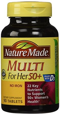 Nature Made Multi For Her 50 Plus No Iron  90 Tablets ** Click image to review more details.