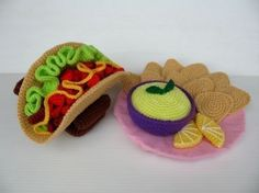Crochet Pattern  TACO and CHIPS with SALSA Toys / par skymagenta