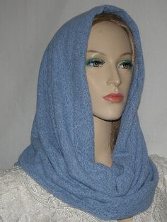 Periwinkle Blue Cowl Snood Head Covering. $18.99