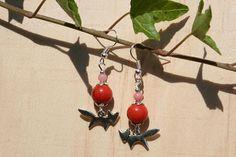 Boucles d'oreille perles de Jade et renard  couleurs de