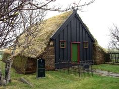 Turf church at Vidimyri, Iceland.