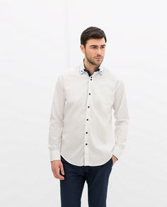 61072cc6e72 Image 1 of CONTRASTING DOUBLE COLLAR SHIRT from Zara