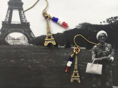 Ea-63 Eiffel tower earrings, tiny tricolore, brass charms, tiny seedbead french flag, choice of earring findings by Tinord on Etsy