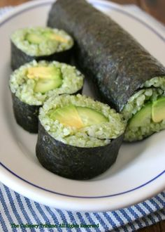 Green Sushi: Spinach Rice with Cucumber and Avocado