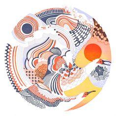 A traveling star - Yasuko Aoyama, eraser printmaking Japanese Textiles, Japanese Patterns, Japanese Prints, Japan Illustration, Drawn Art, Japan Design, Japan Art, Art Sketchbook, Chinese Art